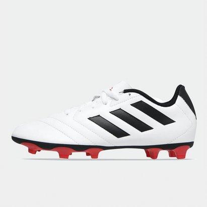 adidas Crampons de football pour hommes, Terrain sec, adidas Goletto en blanc et rouge