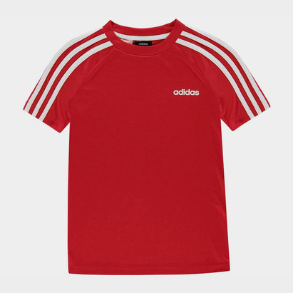 adidas Sereno 3 Bandes, T-shirt rouge et blanc pour enfants