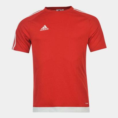 adidas Sereno, 3 Bande, T-shirt pour hommes en Rouge et blanc