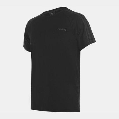 adidas Sereno, 3 Bande, T-shirt pour hommes en noir et gris