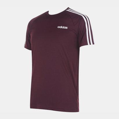 adidas Sereno, 3 Bande, T-shirt pour hommes en bordeaux et blanc
