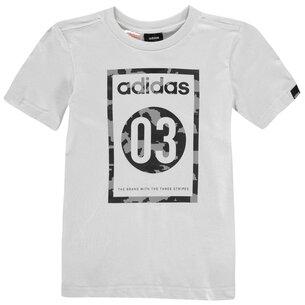 adidas Camo QT T Shirt Junior Boys