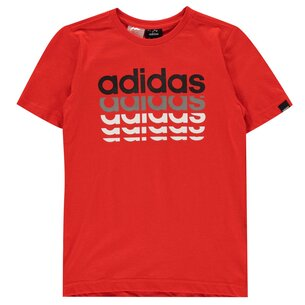 adidas Repeat Linear QT T Shirt Junior Boys