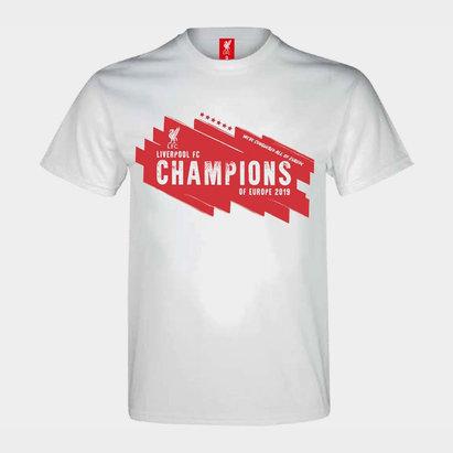Source Lab T-shirt blanc pour hommes, Liverpool Champions d'Europe
