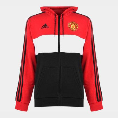 adidas Sweatshirt à capuche et zip intégrale pour hommes, Manchester United