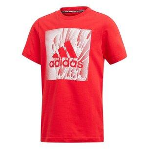 adidas Box Print T Shirt Junior Boys
