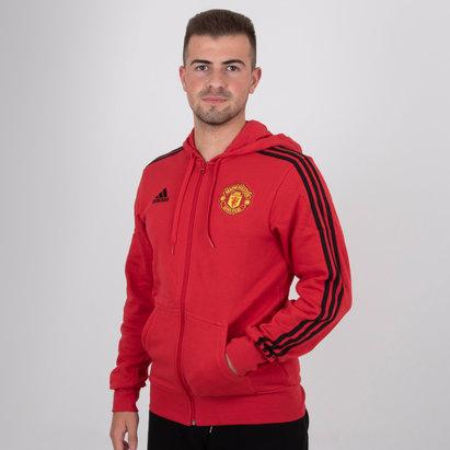 adidas Manchester United 18/19 - Pull Rayé à Capuche de Foot Zippé