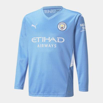 Puma Manchester City Long Sleeve Home Shirt 2021 2022 Junior