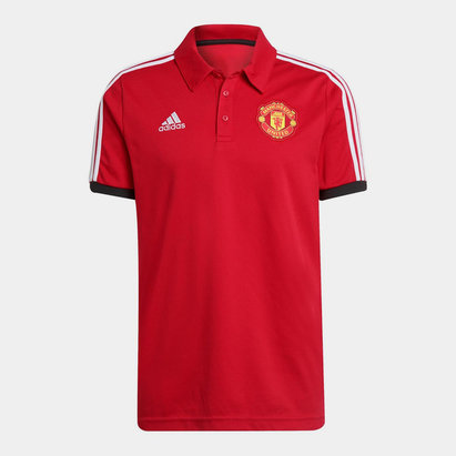 adidas Manchester United 3 Stripe Polo Shirt Mens