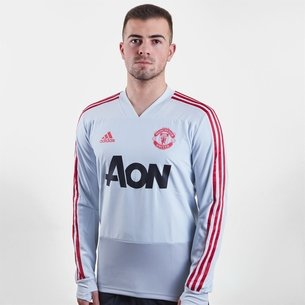 adidas T-shirt d'entrainement joueurs de football à manches longues, Manchester United 2019