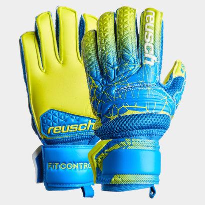 Reusch Fit Control, Extra soutien des doigts, Gants de Football pour enfants, Terrain mou