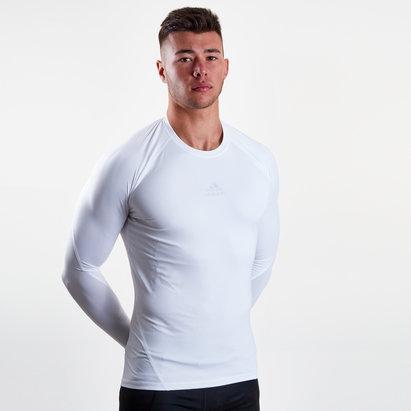 adidas Alphaskin Sport, T-shirt de compression blanc, manches longues