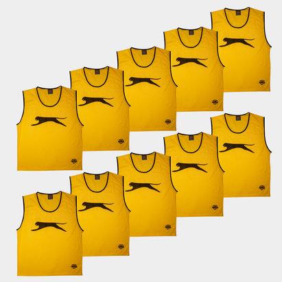 Slazenger Dossards d'entrainement jaunes pour adultes, lot de 10