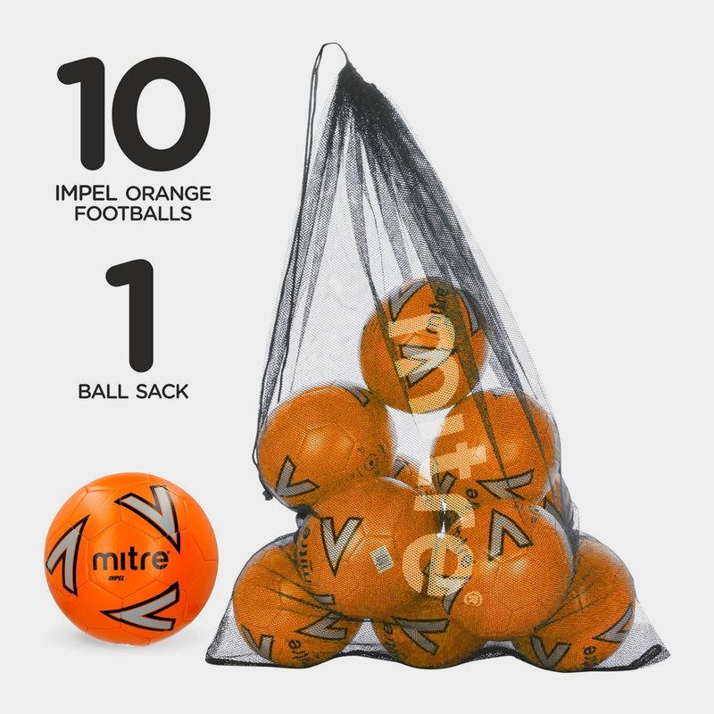 Impel 10/x Orange Mitre Balles dentra/înement avec Une Lusum Sac Boule en Maille