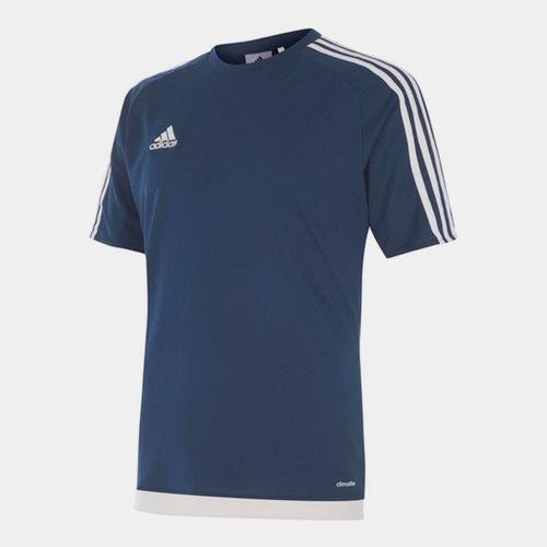 Sereno, 3 Bande, T-shirt pour hommes en Bleu foncé et blanc
